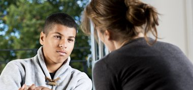 Support worker and young person